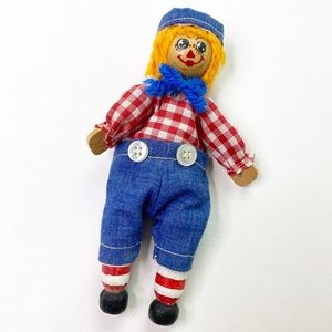 Vintage Raggedy Andy Wooden Doll Gingham Small